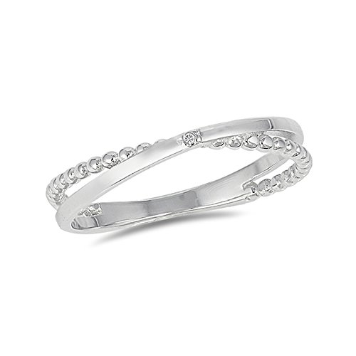 .925 Sterling Silver Crossover Beaded Stackable Ring ()