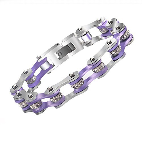 Unisex Coloful Titanium Steel Bike Chain Bracelet With Crystal Centers Chain Link (syle4)