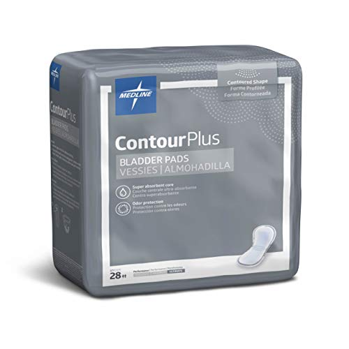 Medline Contour Plus Bladder Control Incontinence Pads, Ultimate Absorbency, 8