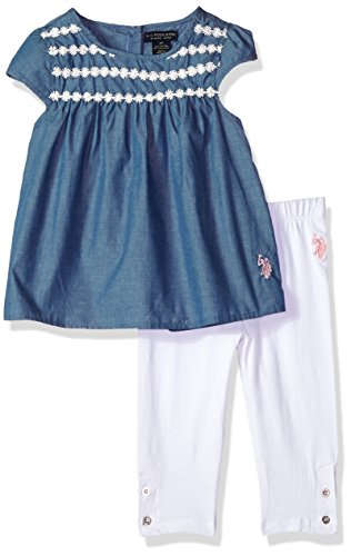 (U.S. Polo Assn. Girls' Toddler Fashion Top and Legging Set, Lace Taping Yoke Babydoll White, 4T)