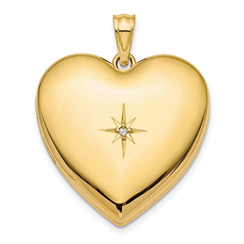 14k Yellow Gold 24mm Diamond Star Design Ash Holder Heart Photo Pendant Charm Locket Chain Necklace That Holds Pictures Fine Jewelry For Women Gift Set -