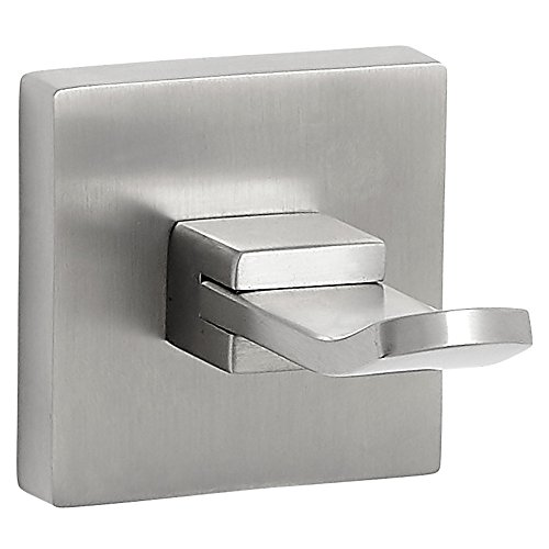 Modern Flat Brushed Nickel Towel Hook | Clean Lines & Premium Quality Stainless Steel Robe Holder or Clothes Holder | Satin Finished Wall Mounted Contemporary Design | Bathroom or Coat Closet Hook