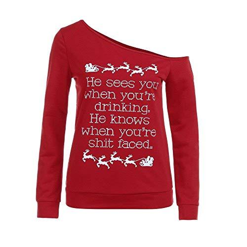 V Moda Maglione Con Di Lunga 3 Chic Da Alla Elegante Red Felpa A Scollo Manica Natale Ragazza Donna U06pPqxwd