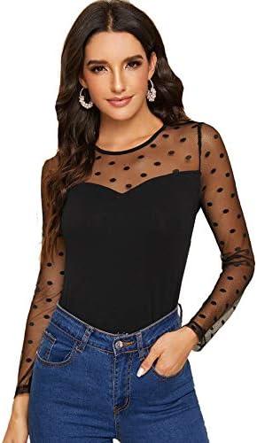 SweatyRocks Womens Sleeve Contrast Sheer product image