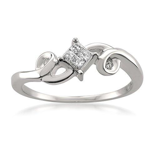 14k White Gold Princess cut Diamond Invisible Set Engagement Promise Ring (1/10 cttw, H I, I1 I2)