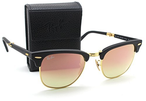 Ray-Ban RB2176 Folding Clubmaster Flash Gradient Unisex Sunglasses (Matte Black Frame/Brown Pink Mirror Gradient Lens 901S7O, - Ray Folding Ban Round Pink