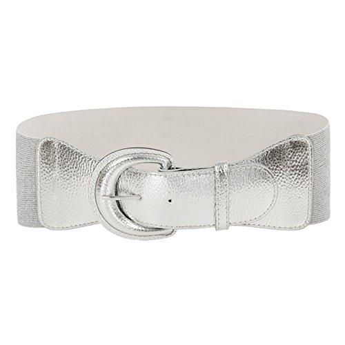 Women's Fashion Wide Metal Stretchy Elastic Waist Belt (XL,Silver)
