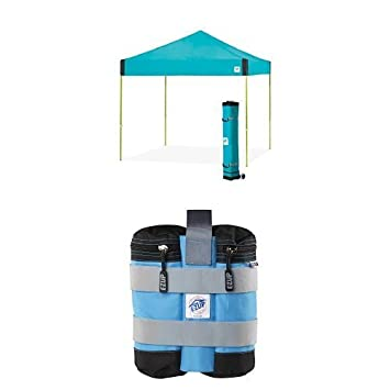 E-Z UP Pyramid Instant Shelter Canopy, 10 by 10 , SplashE-Z UP Pyramid Instant Shelter Canopy, 10 by 10 , Splash with 4 deluxe weight bags
