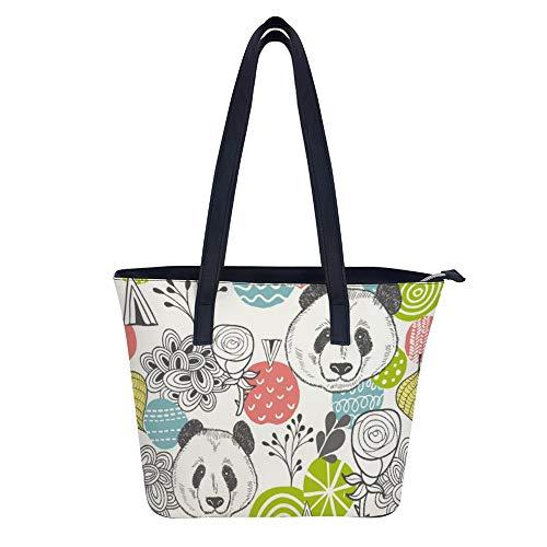 SARA NELL Women's Leather Tote Shoulder Bags Handbag Abstract Design Elements Cute Panda Handbags For Work Travel Business Beach Shopping School -