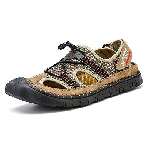 Kaki 42 EU ANNFENG Mode été en Plein Air Sandales pour Hommes Décontracté Léger Plage Chaussures d'eau à Lacets Style Maille Matériel Crochet Boucle Sangle Creux Anti-Collision Toe Imperméable à l'eau
