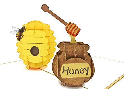 PopLife Beehive and Honeypot 3D Pop Up Card for your HONEY! - Mothers Day Pop Up, Fathers Day, Anniversary Card, Happy Birthday, Apology, Gift for Her - Fold Flat - for Husband, for Wife, for Daughter ()