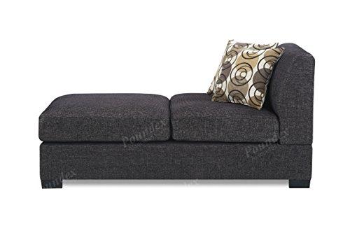 BOBKONA Poundex Benford Collection Faux Linen Chaise Sofa, 2-Piece, Ash Black