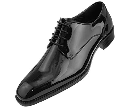 (Amali Men's Patent High Shine Faux Leather Lace Up Oxford Dress Shoe, Style Classiko Black)