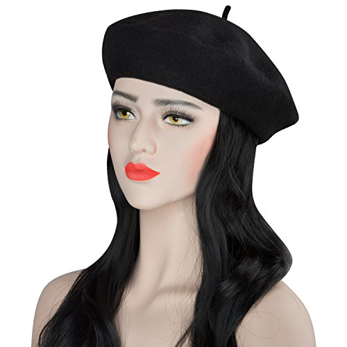Acecharming Womens French Style Beret Wool Beanie Hat Cap Black Thick