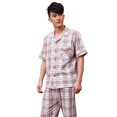 (QIANXIU Mens Cotton Solid Pajamas Long Woven Pj Set Short Sleeve Pajama Shorts and Top Set)