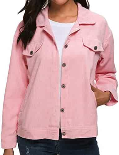 872e891e5af Prsun Women Single-Breasted Long Sleeve Turn-Down Collar Corduroy Jacket