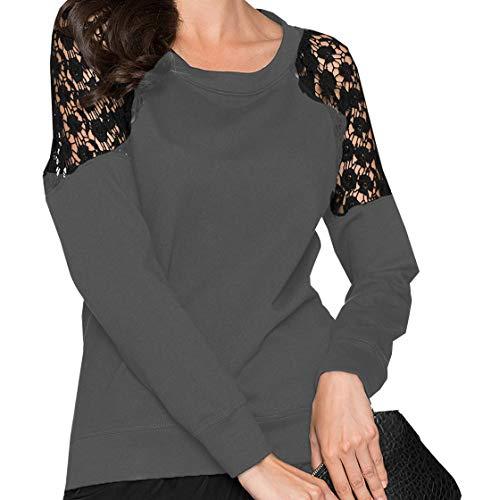 Fashion Tees pissure Longues et Manches Automne Hauts Rond Gris Dentelle Printemps Blouse Jumpers Pulls Shirts Col Tops Femmes T xIRAxq