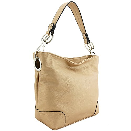 Silver Rose Snap (Hobo Shoulder Bag with Big Snap Hook Hardware (Rose Gold))