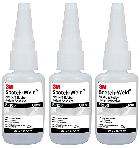 3M Scotch-Weld 25214 Plastic & Rubber Instant Adhesive PR100, 20 g Bottle,  0 676 fl  oz  (Тhree Pаck)