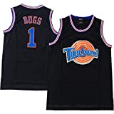 AIFFEE Men's Jersey Bugs Bunny Space Jam #1 Basketball Jersey White Black Color Size S-XXL (S, Black)