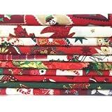 Always Knitting & Sewing - 10 Piece Christmas mix 100 % cotton small piece fabric bundle 25cm x 25cm