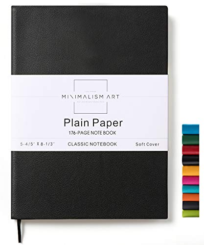 Minimalism Art, Soft Cover Notebook Journal, A5 Size 5.8 X 8.3 inches, Plain/Blank Page, 176 Pages, Fine PU Leather, Premium Thick Paper-100gsm, Ribbon Bookmark, Designed in San Francisco (Black)