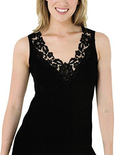 Camiseta Mujer con encaje en algodón puro, fabrican según las directrices de OEKO-TEX 100 - Certificado Alemán Negro