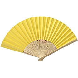 Mchoice Pattern Folding Dance Wedding Party Lace Silk Folding Hand Held Solid Color Fan (Yellow)