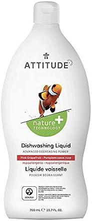 ATTITUDE Natural Dish Soap, ECOLOGO Certified Dishwashing Liquid, Hypoallergenic and Biodegradable, 700 mL, Pi