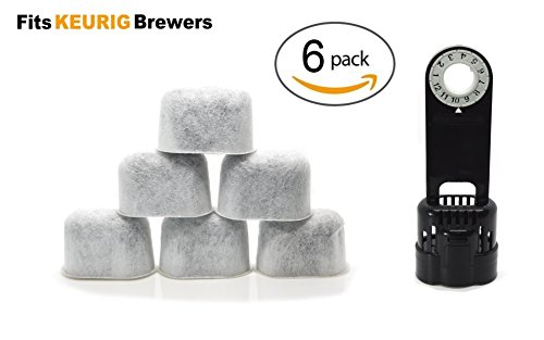 Keurig Compatible Water Filter 6 Pack with Holder By ElloGreen - Universal Fit (NOT CUISINART) for Kuerig Coffee Machines 2.0 and older - Purifying from Impurities and Improves Taste