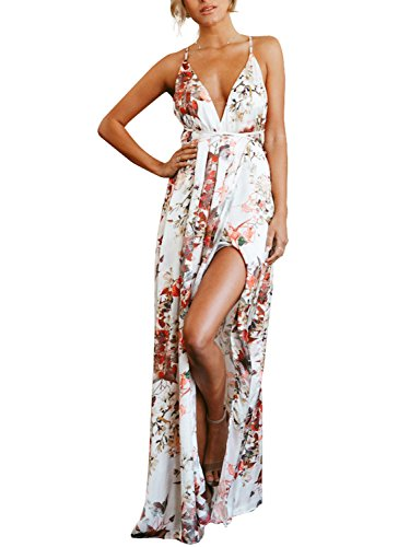 Missy Chilli Women's Deep V Neck Spaghetti Strap Floral Print Sleeveless Backless High Split Maxi Dress (Red Print,2/4) (Dress Floral Satin)