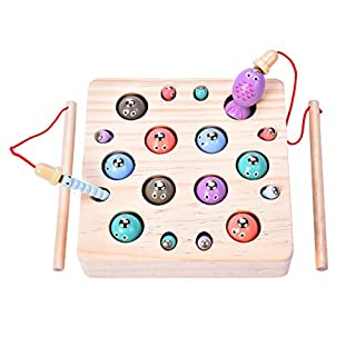 MICKYU Magnetic Wooden Fishing Game Fish Catching Preschool Board Games Learning Education Math Toys for Toddlers Kids