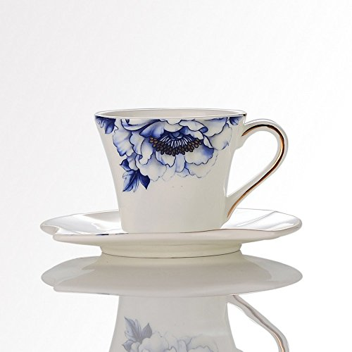 Porlien Porcelain 2.5-Ounce/80ml Small Espresso Cups Set of 4 with Saucers, Blue Floral Gold Trimmed by Porlien (Image #7)