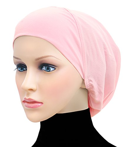 Middle Eastern Mall Cotton Beanie Snood Large Hijab Chemo Cap (Pink)