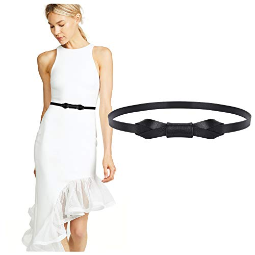 JASGOOD Women PU Leather Skinny Belt for Dress Adjustable Thin Waist Belt for Lady (Ladies Black Belt)
