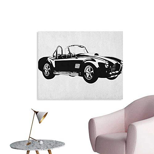 Cars Mural Decoration Silhouette Classic Sport Car Ac Cobra Roadster American Antique Engine Autosport Cool Poster Black White W36 xL32