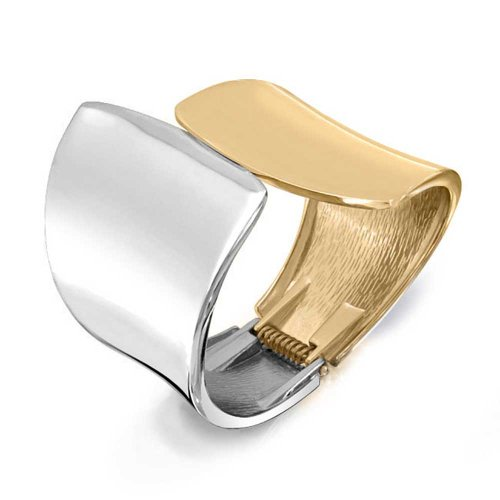 Bling Jewelry Two Tone Gold Plated Wide Cuff Bracelet Rhodium Plated (Two Tone Cuff)