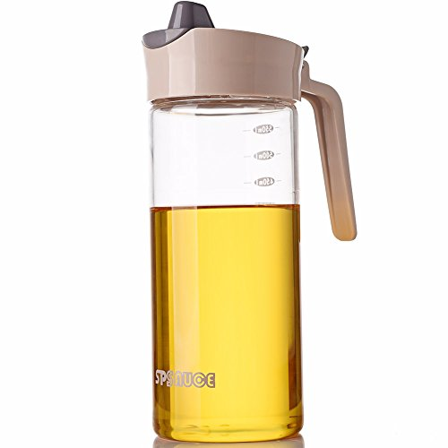Drip Free Olive Oil Dispenser, Glass Salad Dressing Bottle, Vinegar Dispensing Cruets, Cooking Oil Condiment Containers with Measurement and Easy Pouring Spout for Kitchen by Marbrasse (Brown)