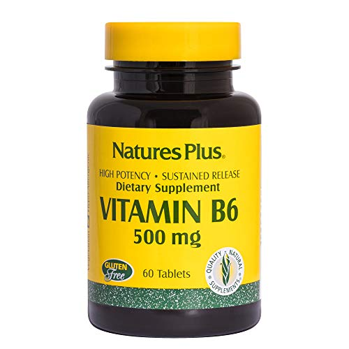 NaturesPlus Vitamin B6 (Pyridoxine HCI), Sustained Release - 500 mg, 60 Vegetarian Tablets - Energy & Metabolism Booster, Memory, Mood, Immune Support Supplement - Gluten-Free - 60 Servings