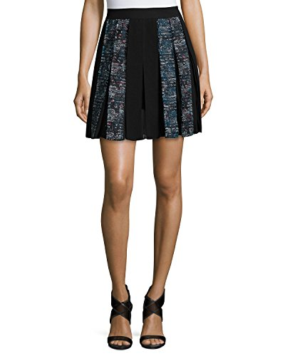 Diane von Furstenberg Maison Box-Pleated Miniskirt, Peacock/Black Multi 14 ()