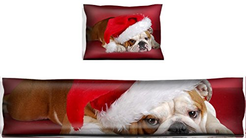 Santa Pillow Bulldogs (MSD Mouse Wrist Rest and Keyboard Pad Set, 2pc Wrist Support IMAGE ID: 8228208 english bulldog wearing santa hat on red background)