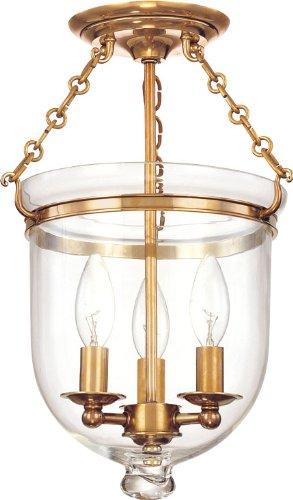 Hampton 3-Light Semi Flush - Aged Brass Finish with Clear Glass Shade