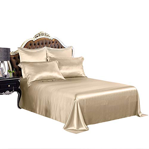 THXSILK 19mm Silk Flat Sheet, 1 Flat Sheet ONLY, High End Collection Silk Bed Sheet, Ultra Soft Pure Mulberry Silk Bedding-, Durable (King/Cal.King, Champagne) ()