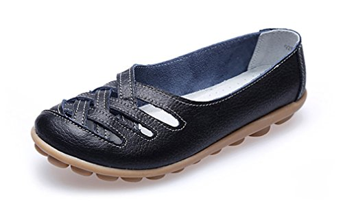 KEESKY Womens Ladies Leather Casual Cut out Loafers Flat Slip-on Shoes Black Size 9