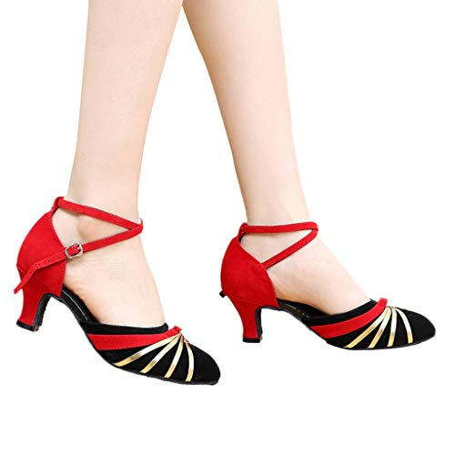 Outtop(TM) Women Low-Heels Dance Shoes Ladies Rumba Waltz Prom Ballroom Latin Salsa Dancing Shoes Sandals (US:5.5, Red)