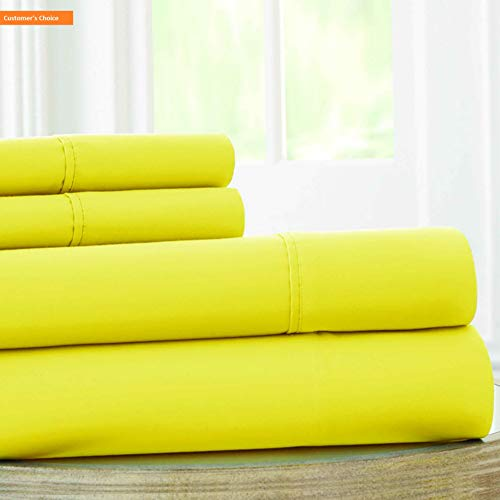 Mikash New Soft | 1800 Series 100 GSM 4 Piece Solid Microfiber Sheet Set (Yellow, Full) | Style 84600685 ()