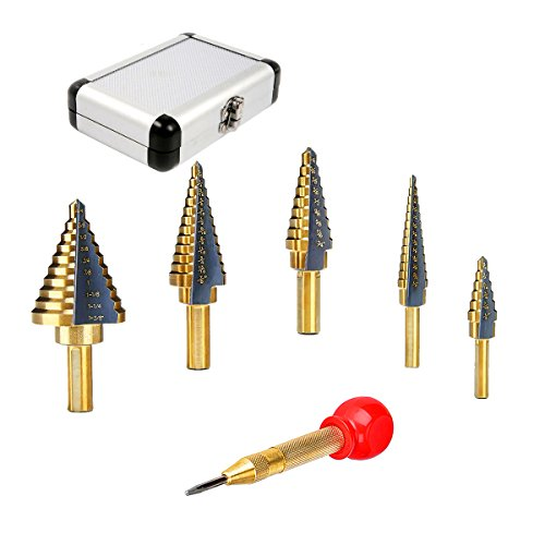 Senrob 5 Pcs Step Drill Bit Set with Automatic Center Punch& Aluminum Case, High Speed Steel Titanium Cobalt Bits for Metal - Cobalt Steel Metal