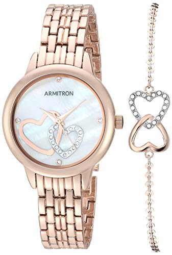 (Armitron Women's 75/5663MPRGST Swarovski Crystal Accented Rose Gold-Tone Watch and Bracelet Set )