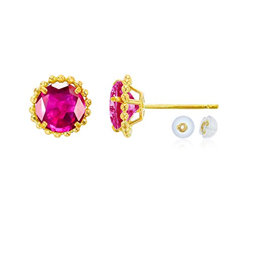 Ruby Earrings Glass (14K Yellow Gold 5mm Round Glass Filled Ruby with Bead Frame Stud Earring with Silicone Back)