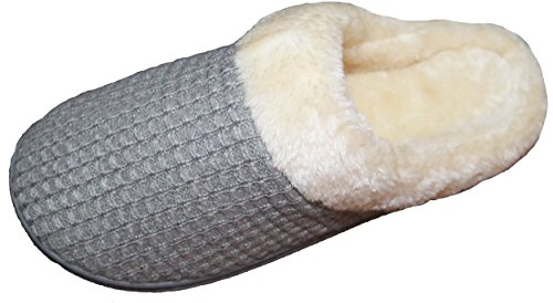 LUXEHOME Women's Slip-On Cozy Knit & Fluff Home Slippers